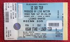 U2 360 Tour TICKET Stub CROKE PARK IRELAND Sat 25th July 2009 Rare