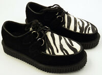 NEW NWOB Demonia Zebra Fur Creepers Shoes Rockabilly Punk Mod Mens 5 Womens 7
