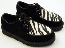 NEW NWOB Demonia Zebra Fur Creepers Shoes Rockabilly Punk Mod Mens 5 Womens 7