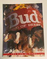 1986 Budweiser Beer Bud King of Beers Clydesdales Bottle Print Ad
