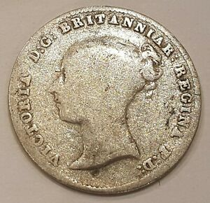 1843 Young Head Victoria Three Pence Silver Coin L3