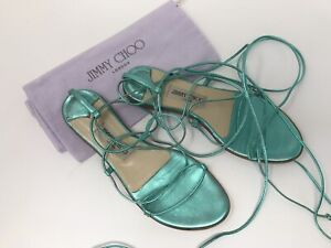 Jimmy Choo Turquoise Gladiator Strappy Ankle Wrap Tie Flat Sandals 38.5