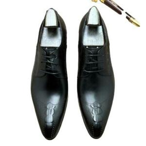 British Mens Real Leather Business Shoes Pointy Toe Work Office Wedding Formal L