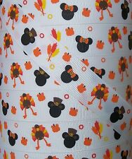 "5 yards 7/8"" MICKEY MINNIE PILGRIM THANKSGIVING TURKEY GROSGRAIN RIBBON"