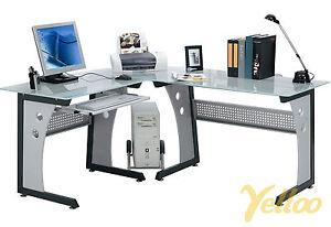 SCRIVANIA ANGOLARE Tavolo POSTAZIONE Ufficio POLTRONA DESIGN Vetro Mod. OFFICE