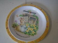 Cheeky Bunny Plate Hanacobi Rabbit Melamine Ware Watering Flowers Ladybug