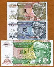 SET Zaire, 1;5;10 Nouveau Likuta / Makuta, 1993, P-47-48-49, UNC   Mobutu
