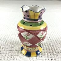 Vintage WCL Scalloped Multicolor Whimsical 5in Flower Vase Flowers Checkers