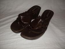 7a67cebebc1 No Boundaries Women s Brown Wedge Sandals Ladies Slip On Shoes size 8.5