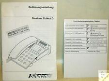 Hanbuch Telefon Binatone Collect D auf Deutsch + Kurzbedienungsanleitung