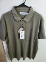 Calvin Klein Men's Short Sleeve Slub Cotton Monogram Logo Polo Shirt Dusty Olive