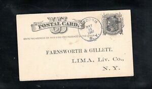 1881 Fancy Cancel Caledonia, N.Y., Sc #UX5 Postcard to pre-printed Lima, N.Y.