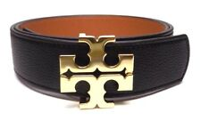 "NEW TORY BURCH 1.5"" BLACK TIGERS EYE BROWN LEATHER REVERSIBLE LOGO BELT- S-XL"