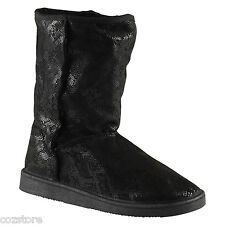 Aldo Cancio Black Mid Calf Winter Snow Cold Weather Boots Short EU 37.5 US 7 B