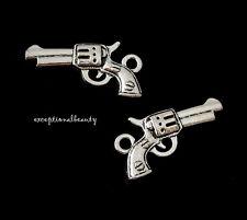 10 Antiqued Tibetan Silver Bead Drop Two Sided 21mm 3D Gun Revolver Charms