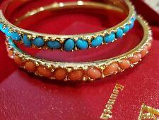 Kenneth Jay Lane KJL Coral & Turquoise Cabochon Bangle Bracelet Box/Pouch set