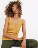 A new day women's  V-neck sweater tank yellow mustard brown 88% cotton pick size
