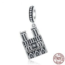 925 SILVER NOTRE DAME DANGLE BEAD CHARM CZ DETAILING BIRTHDAY CHRISTMAS GIFT