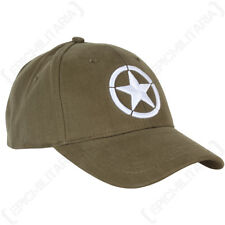 WW2 Star Baseball Cap Embroidered - Sun Hat Army Military Green Cotton New
