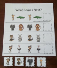 African Animals What Comes Next laminated preschool child learning game.  Tod