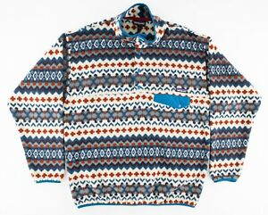 Patagonia Mens Large Synchilla Pullover T Snap Fleece Pattern Striped Red White