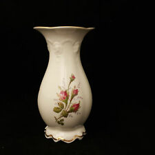 Rosenthal Porzellan Vase classic Rose Tischvase creme Relief Goldrand Rosendekor