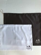 """Lot 2 authentic COACH Dust Bag Drawstring 19"""" x 23"""" 15"""" x 19"""" white brown new"""