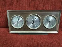 Mid Century Airguide Weather Station Barometer Thermometer Hygrometer Wood Brass