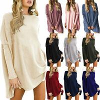 Jumper Plus Size Sweater Mini Dress Tops Casual Tunic Women Long Sleeve Batwing