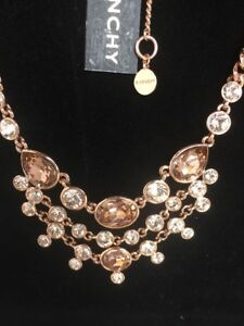 Givenchy Rose Gold Tone Collar Multi Crystal  Necklace Three- Row Layered Frontl