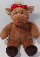 Build a Bear Workshop BROWN CHRISTMAS REINDEER w/ BOW Stuffed Plush Animal BABW