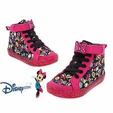 NEW Disney Store Minnie Mouse Clubhouse Glitter Sole Sneakers Shoes Size 6 Girl