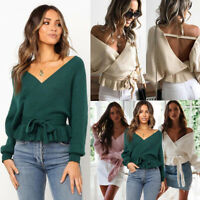 Women Fashion Knitted V-neck Long Sleeve Backless Waist Belt Pullover Sweaters
