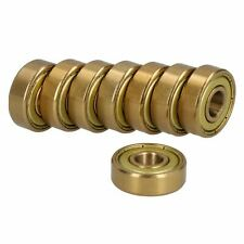 8pk Gold Precision Skateboard Bearings Abec 7 Low Friction & Maintenance Free
