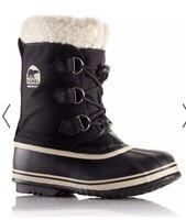 SOREL Yoot Pac Nylon Waterproof Boots BLACK Size Youth US 10 EUR 27 CM 15 NEW