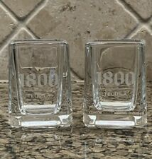 Set of 2 Jose Cuervo 1800 TEQUILA Heavy Square Glass Shot Glasses