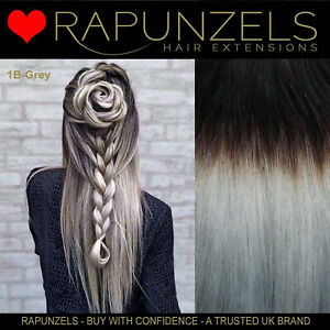 Grey Silver Ombre hair extensions for weaving weft / clip in, BLACK to GREY remy