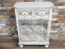 RUSTIC COUNTRY DISTRESSED ANTIQUE STYLE WHITE STORAGE CABINET CUPBOARD (DX4997)