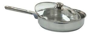 Zodiac Ultra Fry Pan Stainless Steel Professional Kitchen Pot & Glass Lid 4.5L