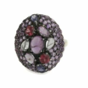 HSN 3.13ct Multigemstone Platinum Plated Cluster Ring Size 8