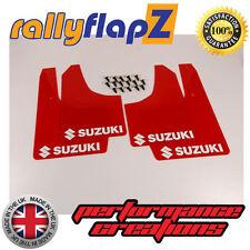 rallyflapZ SUZUKI IGNIS Sport 03-05  Mud Flaps Mudflaps Red Logo White (3mm PVC)