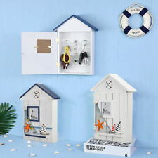 Ocean Style Wooden Wall Key Cupboard Cabinet Rack Holder Storage Box w/ 6