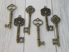 6 Antique Bronze Vintage clés charme pendentif conclusions mariage Steampunk Mix