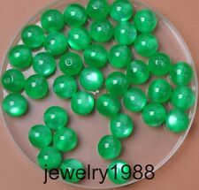 50pcs Green Acrylic Cat's Eye Charm Round Spacer Beads 8mm Jewelry Findings
