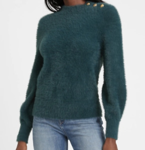 NEW Banana Republic Dark Teal Blue Fuzzy Mock Turtleneck Sweater Small