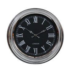 Retro Vintage Style London Metal Wall Clock Chrome With Black Face D31cm ET161