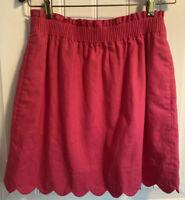 J.Crew Factory Scalloped Linen Cotton Skirt Crisp Begonia Pink Size 2
