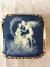 Pate Sur Pate Trinket Box , Women And Angel , Signed Limoges