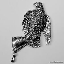 Falconry Hawk on Gauntlet Large Pewter Brooch Pin- British Artisan Signed- Eagle