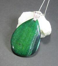 Colgante De Piedras Preciosas Ágata Natural, en verdes-Hecho a Mano-con cadena